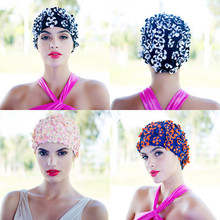 2017 new flower swim cap cap three-dimensional flowers petals diamond large stretch long hair hand-sewn swimming cap women(China)