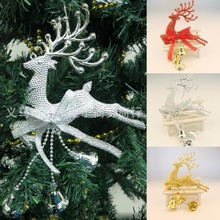 Home Christmas Tree Ornament Deer Chital Hanging Xmas Baubles Party Decoration Deer Christmas reindeer with bell trumpet 2016