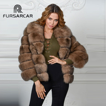 FURSARCAR Winter Women Natural Real Fox Fur Whole Skin Genuine Leather Female Jacket 2017 NEW Thick Fox Fur Short Women Fur Coat(China)