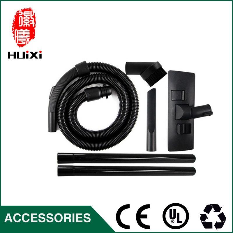 Diameter 32mm Black Flexible suction Hose+Straight hose pipe+Floor brush+ mini round brush for Vacuum Cleaner parts<br>