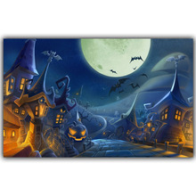 Halloween Poster Pumpkins, Black Cat, Witch's Broom Modern Cartoon Art Picture For Home Decoration Silk Poster and Prints QT079