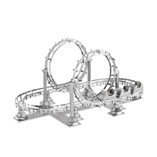 Roller Coaster 3D laser cutting the amusement park building model educational diy toys Jigsaw Puzzle DIY Metal fun for kids gift(China)