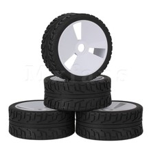 Mxfans 4 x 3 Holes Plastic Wheel Rim High Grip Rubber Tyre for RC1:8 Off Road Car(China)