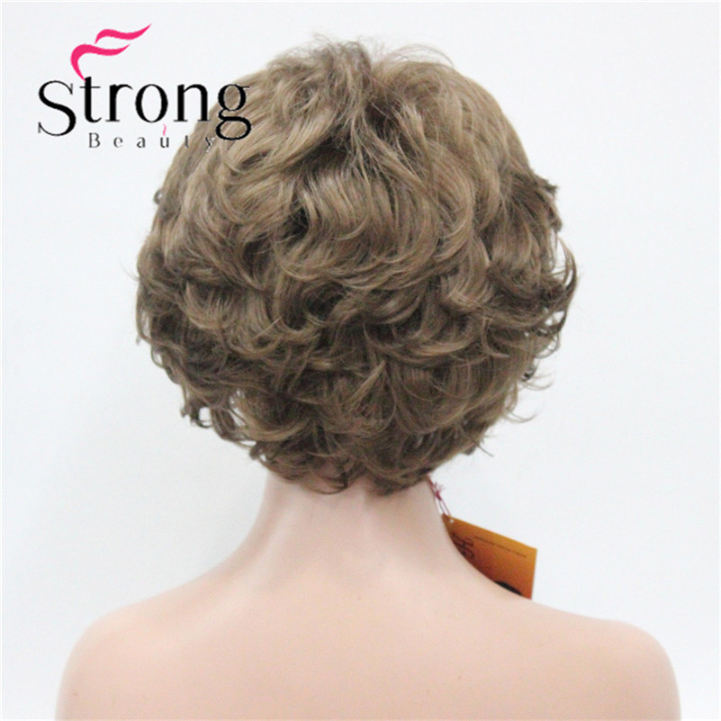 E-7125 #12New Wavy Curly Wig Light Reddish Brown Short Synthetic Hair Full Women's Wigs (5)
