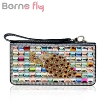 BERNO FLY Crystal Rhinestone Women Wallets Genuine Leather Long Clutch Wallet Fashion Ladies Evening bag Casual Purse for Party