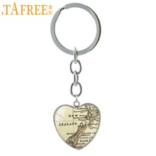 TAFREE Vintage New Zealand Map keychain Ireland Chicago Detroit New York Oakland Cincinnati map key chains ring jewelry HP105(China)