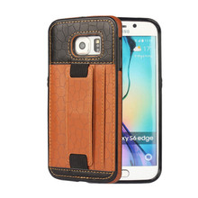 Fashion Style 3D Football Lines For Samsung Galaxy S6 EdgeLeather Mobile Phone Case With Card Slot Hands Band Back Shell Cover