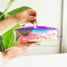 Women Kawaii Colorful Laser Transparent Pencil Case Container Vacuum Cosmetic Make Up Storage Bags Tassel Makeup Pouch Organizer