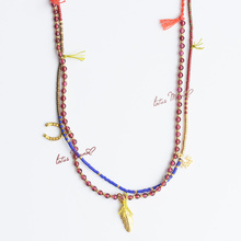 Garnet double strand necklace with feather love and horseshoe Sterling Silver Gold Vermeil Charms seed beads
