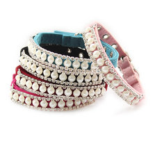 Armi store Rhinestone Pearl Chain Dog Collar Princess Collars For Dogs Cats 60 41017 Pet Leads Accessories(China)