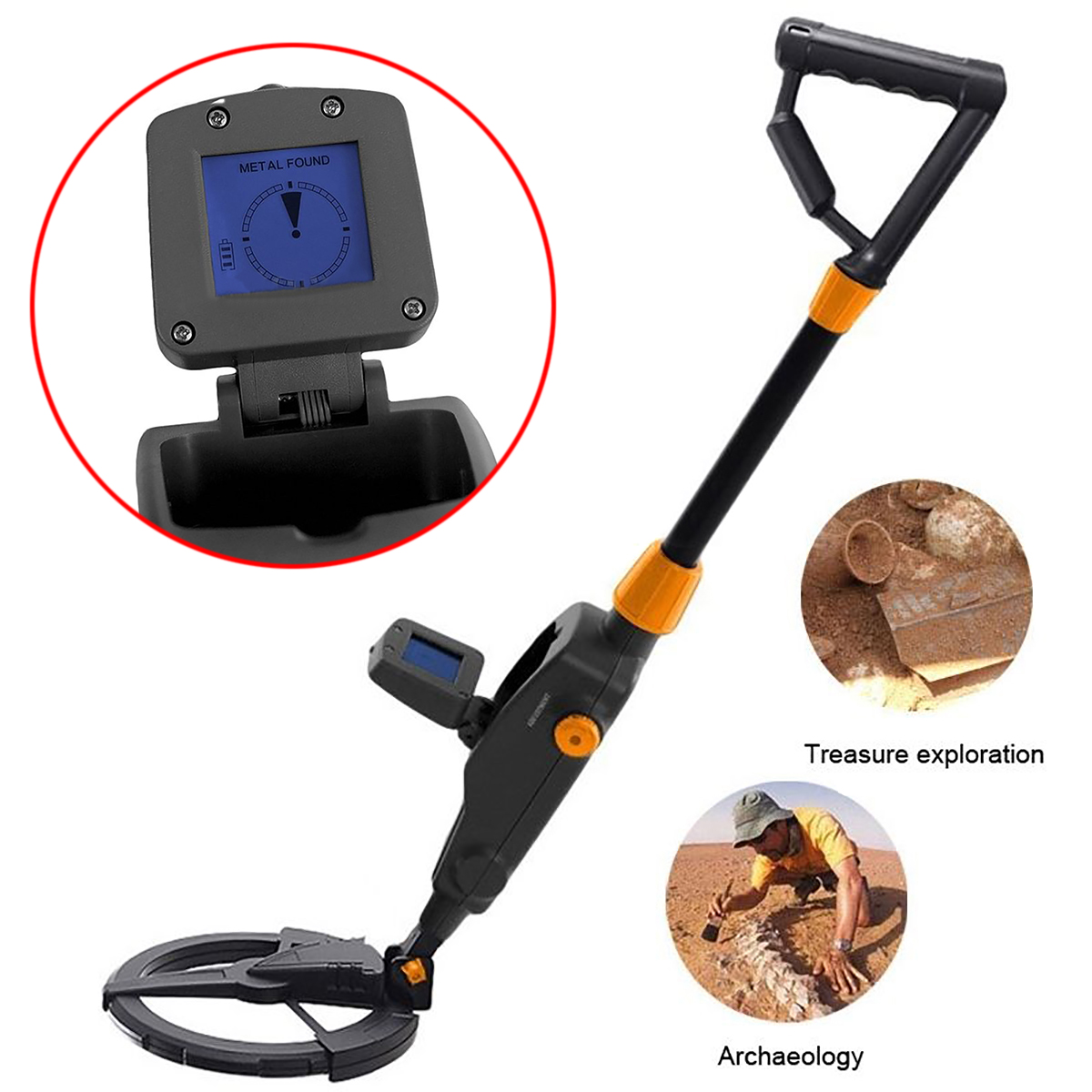 MD-1008A Black LCD Screen Metal Detector Mayitr Beach Search Machine Underground Gold Digger for Jewellery Metal Detection<br>