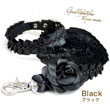 Free shipping beauty princess camellia lace adjustable dog collar+leash pet walking outdoor products black