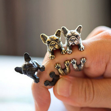 Vintage lovely Antique Bronze Bulldog Labrador Pets Rings Adjustable Wrap Rings for Women Men Party Gifts Free Shipping