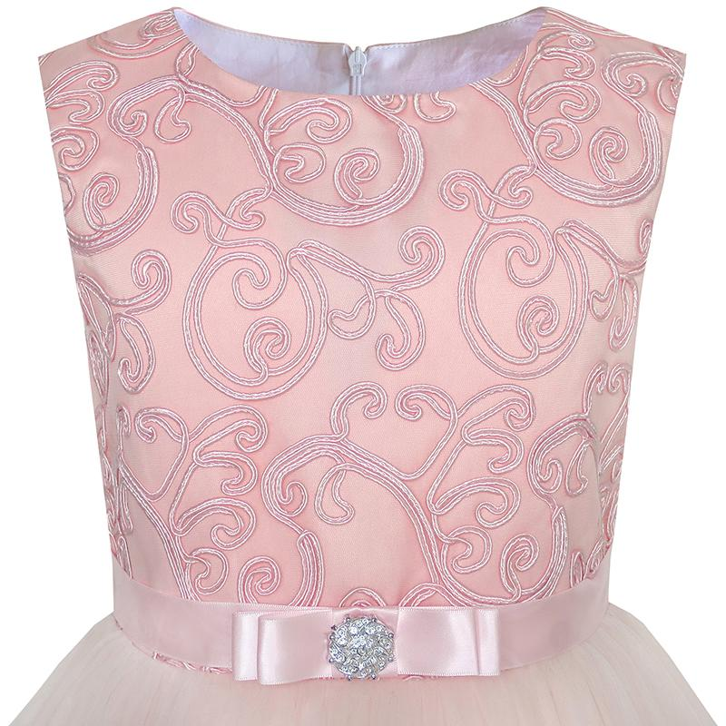 Sunny Fashion Flower Girls Dress Blush Belted Wedding Party Bridesmaid 18 Summer Princess Dresses Kids Clothes Size 4-12 3