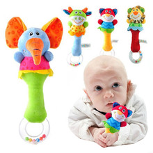 Baby Gift Promotion Hot 15 Designs Soft toys Animal Model Handbells Rattles ZOO Squeeze Me Rattle Baby Educational toy