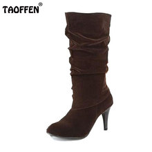 Size 34-45 Women High Heel Half Short Ankle Boots Winter Now Botas Fashion Footwear Warm Heels Boot Shoes P7892