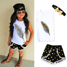 2017 Kid girls clothes Casual Clothing Sets Children's Suit Toddler Kids Feather Vest + shorts + Headband Outfits Clothes