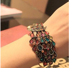 SL028 Latest Fashion Colorful Retro Bohemian Beach Style Bracelet Peacock Imitation crystal Luxury Jewelry Factory Direct 2017(China)