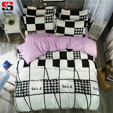 Sookie Plaid Print Bedding Set Twin Queen King Size Duvet Cover Sets With Bed Sheet 4pcs Bed Linen Black and White Bedclothes(China)