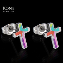 Personalized Painted Cross Stud Steel Plated Stainless Steel Small Earring For Women Birthday Gift(China)