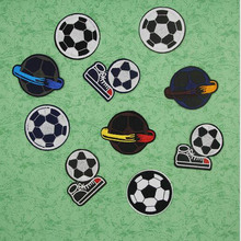 1X Fabric Embroidered Football Patch Cap Clothes Stickers Bag Sew Iron on Applique DIY Apparel Sewing Clothing Accessories BU103(China)