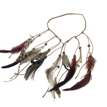 1PC Retro Women Girls Indian Imitation Peacock Feather Headdress Hippie Beads Braided Head Band Hair Band Headpiece