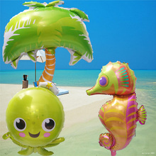 30pcs/lot Giant coconut tree Shark Fish Foil balloon sea theme supplies Helium inflatable globol for Bar theme birthday party