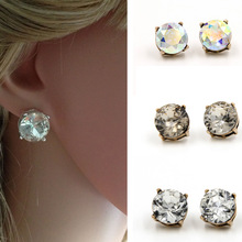 vintage jewelry Modern&Minimalism Female Retro Alloy many sections Glass Dot stud Earrings