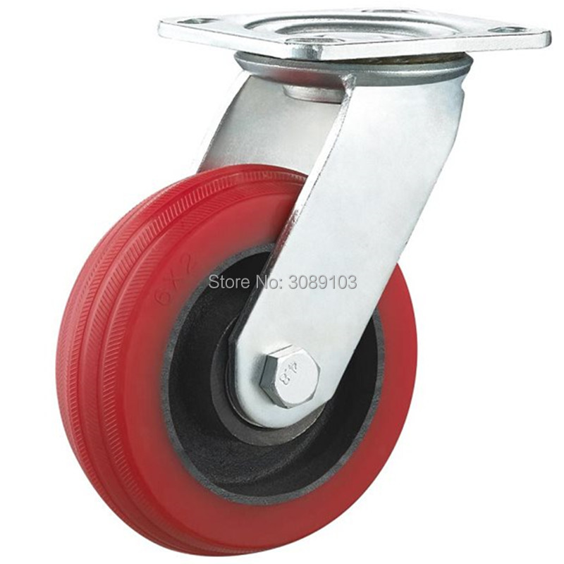 1 PCS 8 inch Heavy Duty casters silicone core High Temperature caster wheel Mute casters<br>