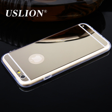 USLION For iPhone 6 6s 6Plus 6s Plus Luxury Mirror Electroplating Soft Transparent TPU Mobile Phone Cases Back Cover Case Capa(China)