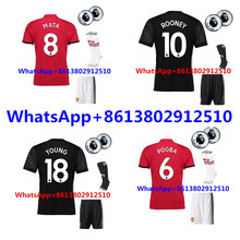 Free patch EUR 2017 best Quality adult Shirts kit+sock Manchesteer 17 18 Home Away 3RD Uniteds Man kit+sock Shirts free shipping(China)