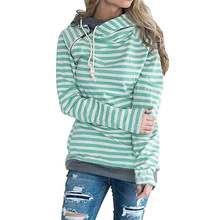 Plus Size Women Clothing Green Blue Orange Striped Hooded Pullover Top Long Sleeve Lady Jumper Hoodies Sweatshirt Women Coat 3XL(China)