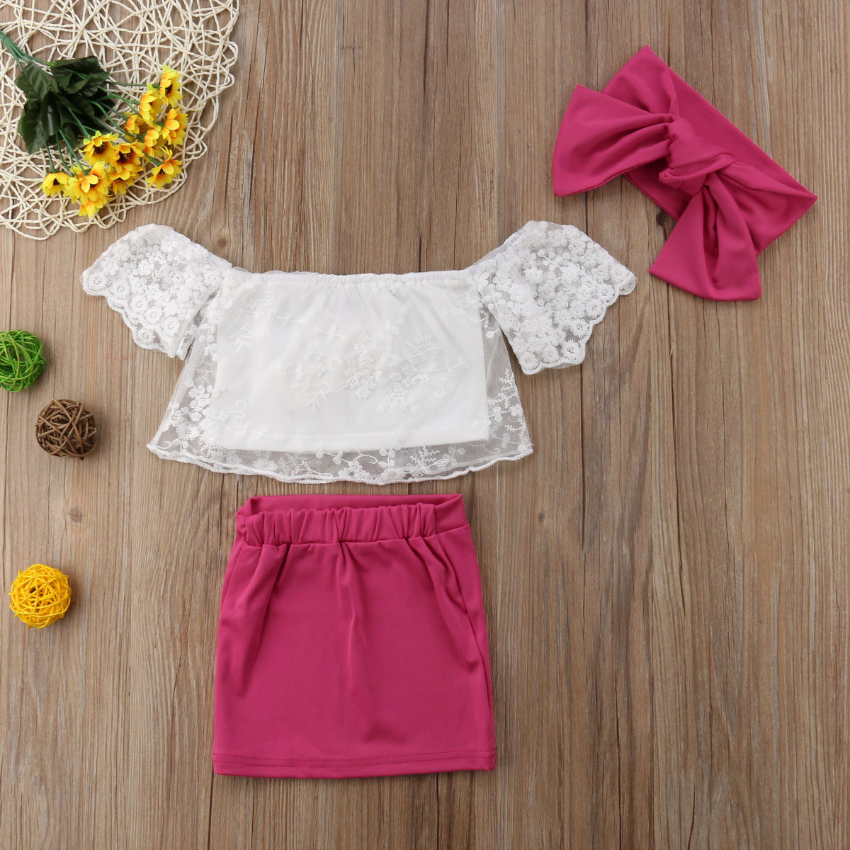 Kids Baby Girl Set Lace Floral Tops T shirt+Skirts Dress 3pcs Summer Outfits Set Clothes