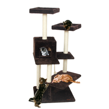 H130cm Scratching Wood Climbing Tree for Cat Cat Jumping Toy with Ladder Climbing Frame Cat Furniture Scratching Post