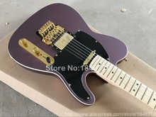 2017 line up purple satin Tele double tremolo electric guitar,High quality golden hardware TL guitar,Free shipping
