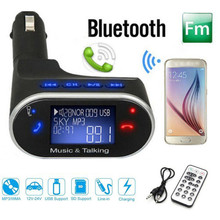 2017 Top sale LCD Wireless Bluetooth Car Kit MP3 Player FM Modulator Remote USB SD Car Charger Support 32GB SD card for Samsung
