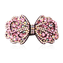 M MISM Women Hair Accessories Crystal Rhinestone Double Bow Hair Clip Beauty Lady Hairpins Barrette Head Ornaments Hair Clamp
