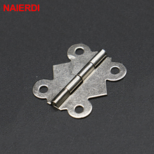 50pc NAIERDI 29mm x 25mm Bronze Gold Silver Mini Butterfly Door Hinges Cabinet Drawer Jewellery Box Hinge For Furniture Hardware