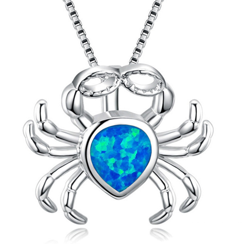 Fashion Silver Filled Blue Imitati Opal Sea Turtle Pendant Necklace for Women Female Animal Wedding Ocean Beach Jewelry Gift 11