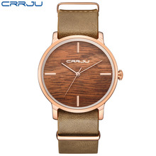 CRRJU Women Fashion Simulation Wooden Color Watches Men Quartz Casual wooden lover's Leather Strap Wristwatch Relogio Masculino(China)