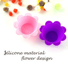 Silicone Flower Cupcake Moulds Reusable Cake Muffin Baking Cup Molds Kitchen Accesorries 2PCS/set KK068(China)