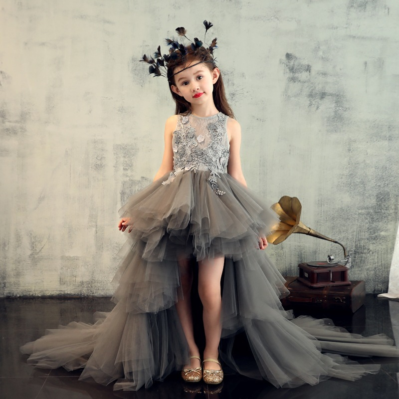 Caustom made grey sleeve ball gown with train dress children girls party dress