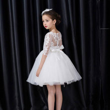 Christmas Girls Dresses,Baby Girls Flowers Princess Wedding Party Dresses,Baby Girls Clothes Medium Sleeve Vestidos for 2017New(China)