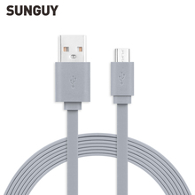 SUNGUY Micro USB Cable 1m 2A Fast Charging Cable Gray Flat USB Cable for Samsung Xiaomi Smartphone MP3/MP4 Camera Computer VR/AR