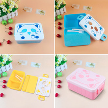 Cat Face Plastic Salad Kids Students Lunch Box Food Storage with Fork Spoon Sets Popular  Dinnerware Sets