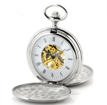 Wholesale 2 Colors Antique Silver Polish Case Hand Wind Mechanical Men Pocket Watch GIFTS Drop Shipping
