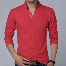 2017 New Fashion Brand Men Clothes Solid Color Long Sleeve Slim Fit T Shirt Men Cotton T-Shirt Casual T Shirts 3XL(China)