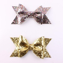 Boutique Baby Girl bow Hairpins Fashion Glitter Leather Bow Hair Clips for children Best Gift baby Headwear Accessories