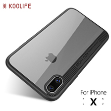 For iPhone X Case Luxury TPU+Acrylic Transparent Back Cover for Apple iPhone X Case KOOLIFE Brand Phone Case for iPhone 10 Cover(China)