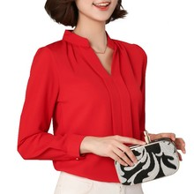 Black Red White Chiffon Blouse Women Spring 2017 Long Sleeve Ladies Office Shirts Korean Fashion Casual Slim Women Tops Blusas